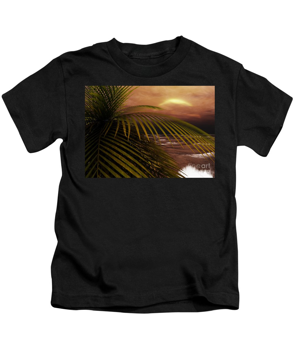 Tropical Kids T-Shirt featuring the digital art Night Moves by Richard Rizzo