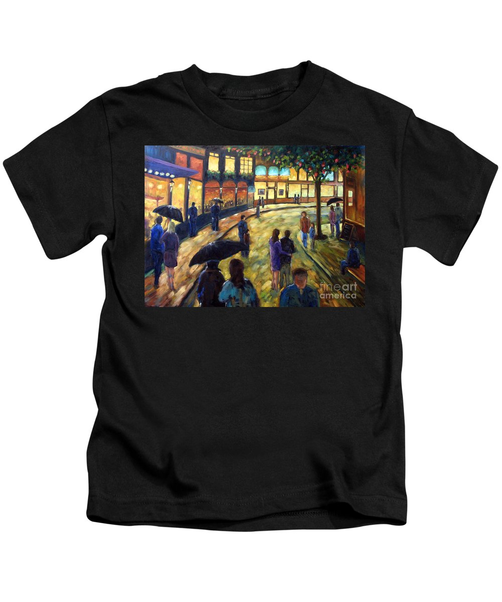 Cityscape Kids T-Shirt featuring the painting Night On The Town by Richard T Pranke