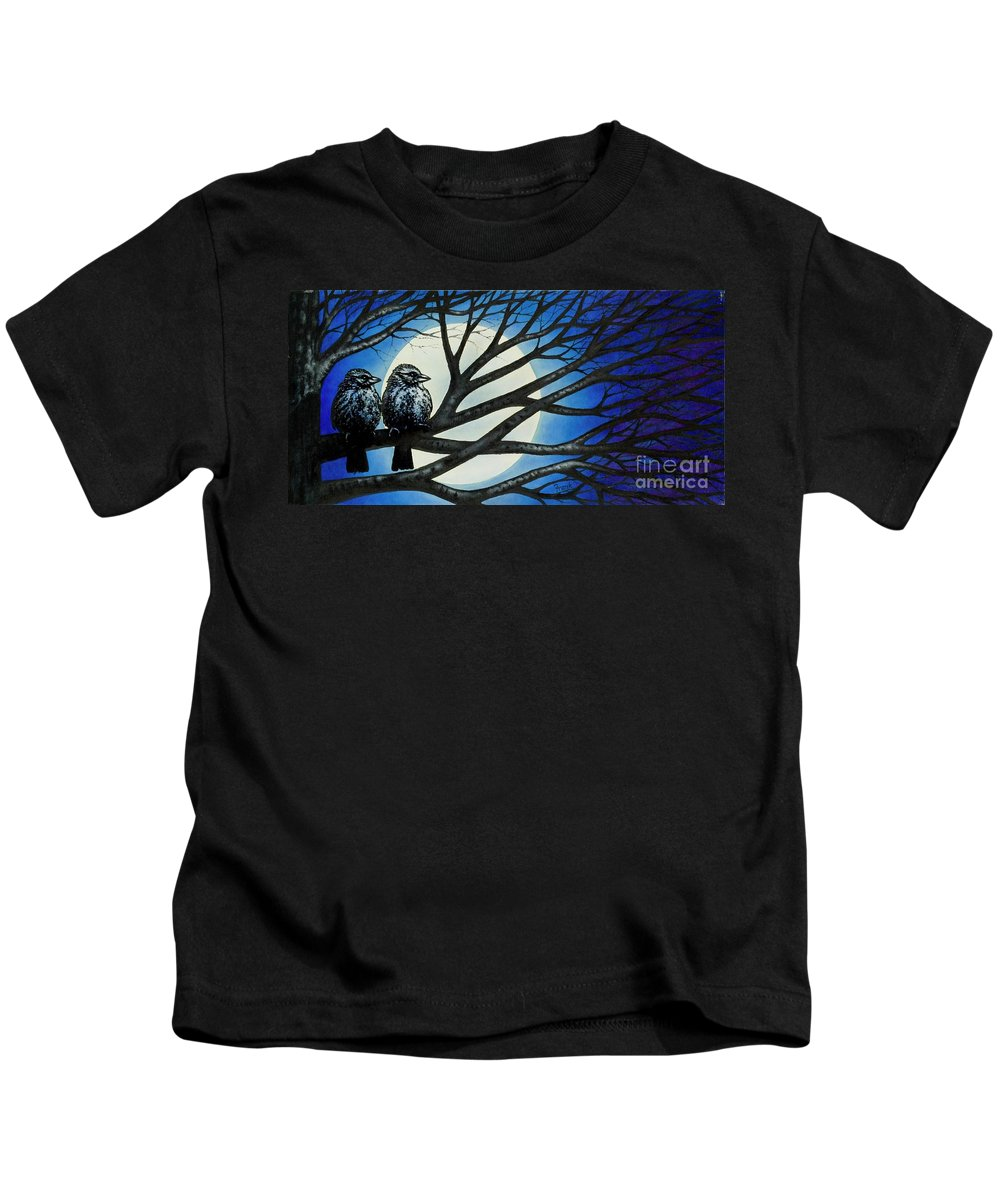 Full Moon Kids T-Shirt featuring the painting Night Perch by Michael Frank