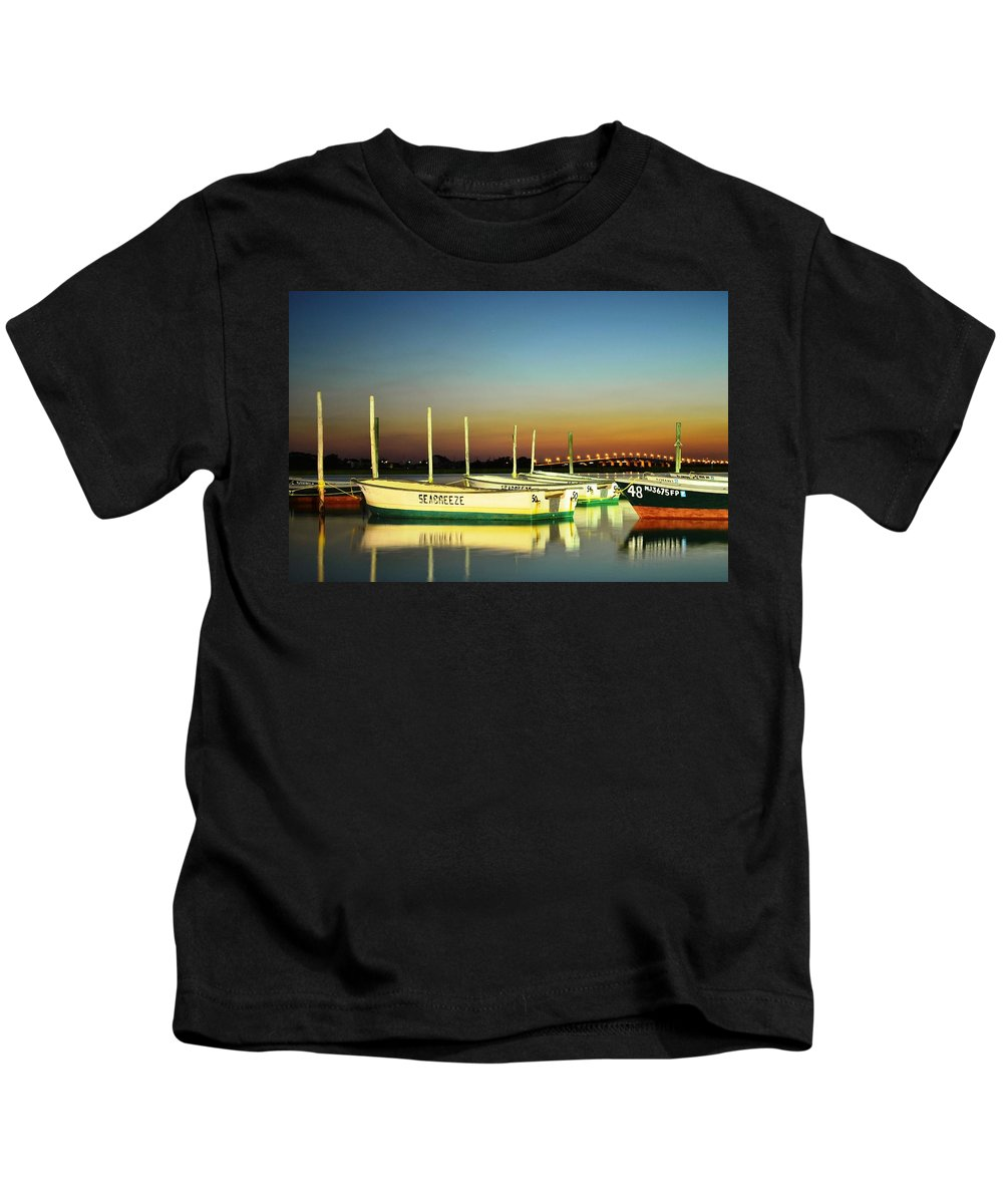 Seaside Heights Kids T-Shirt featuring the photograph Night Reflections by Bob Cuthbert