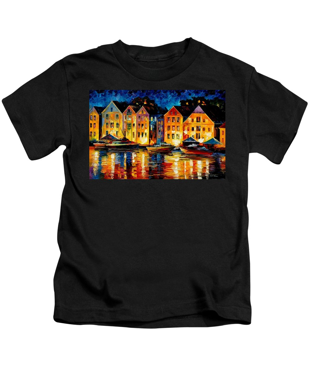 City Kids T-Shirt featuring the painting Night Resting Original Oil Painting by Leonid Afremov