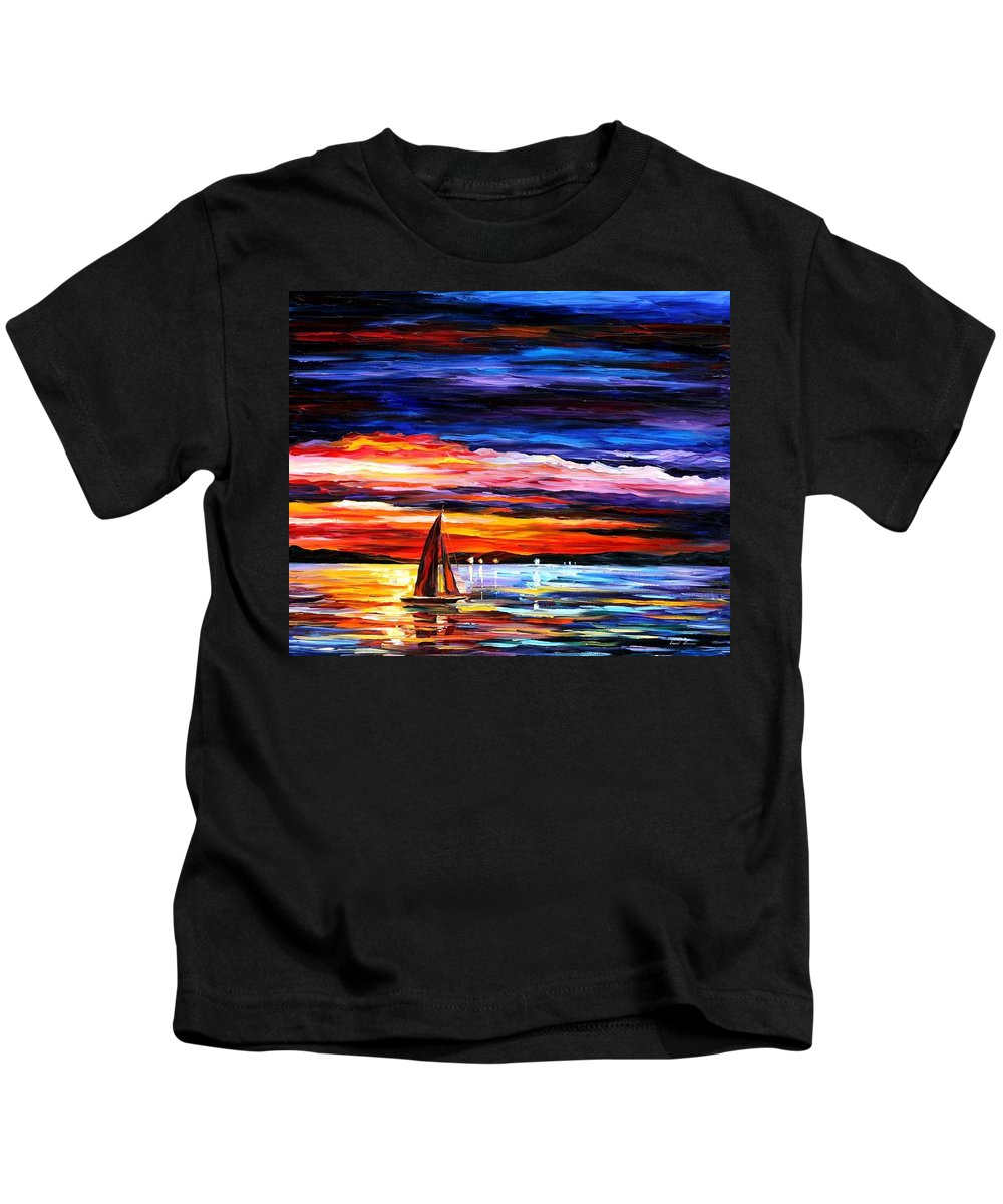 Seascape Kids T-Shirt featuring the painting Night Sea by Leonid Afremov