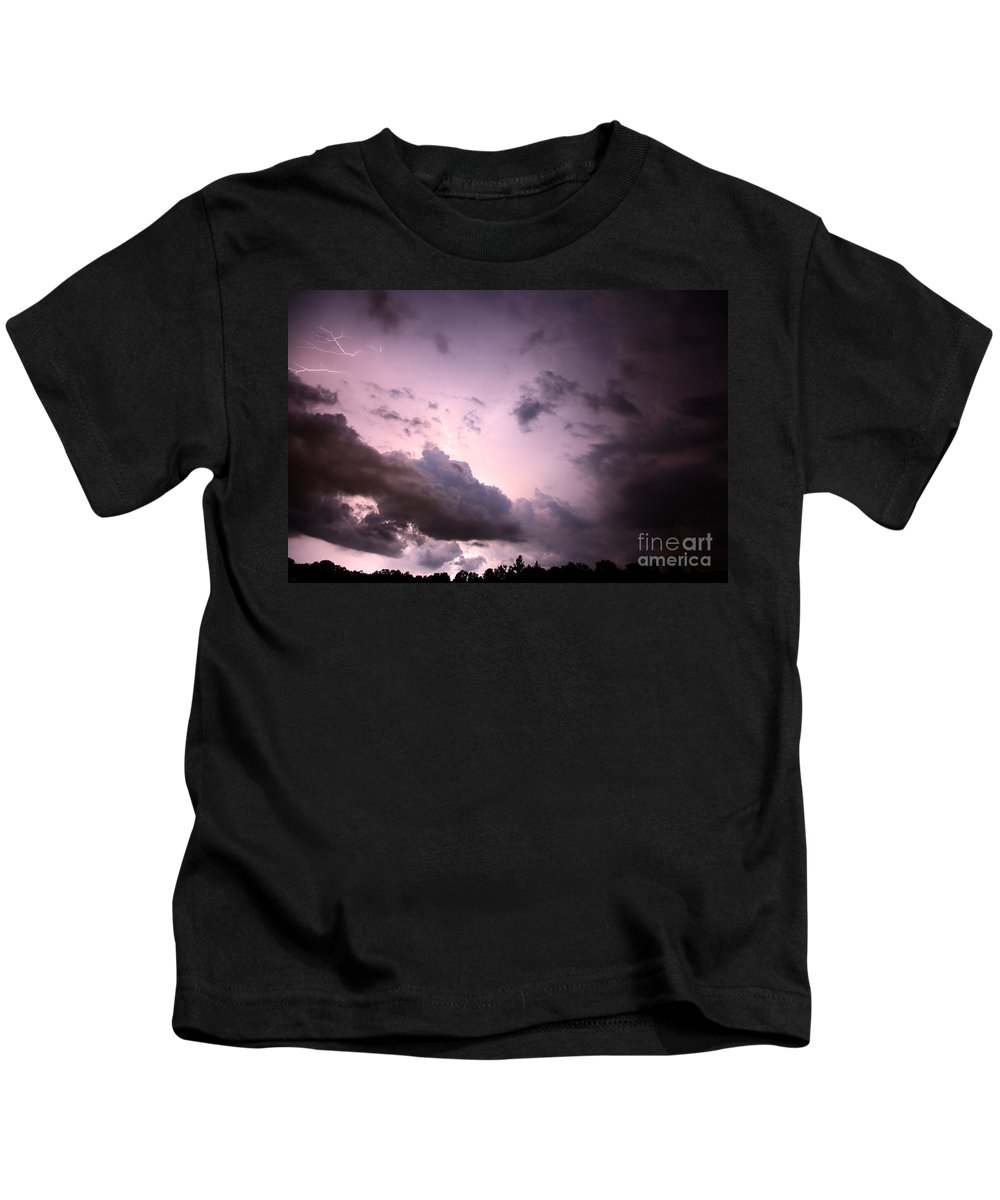Lightning Kids T-Shirt featuring the photograph Night Storm by Amanda Barcon