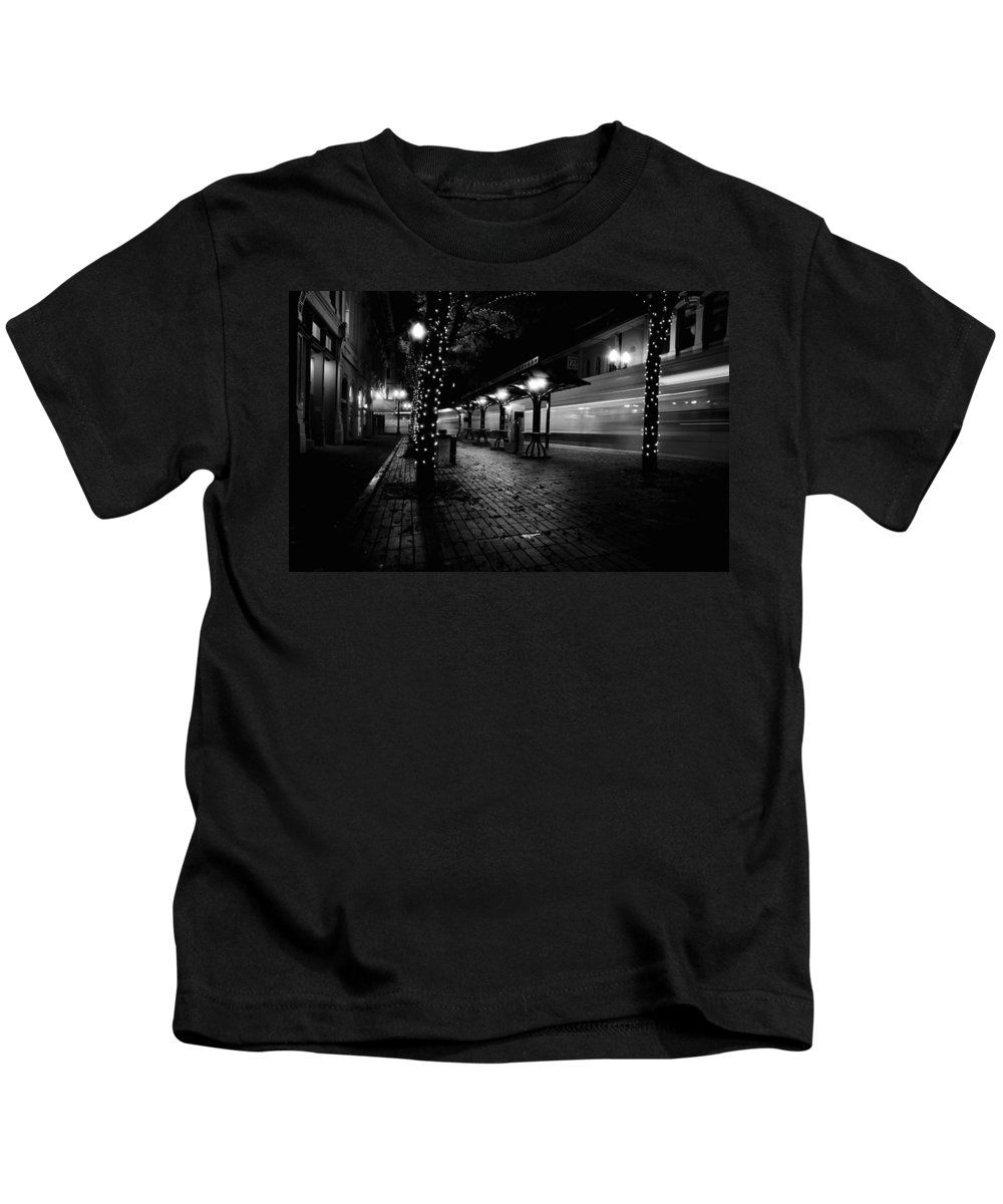 Train Kids T-Shirt featuring the photograph Night Train by Peter Ramirez
