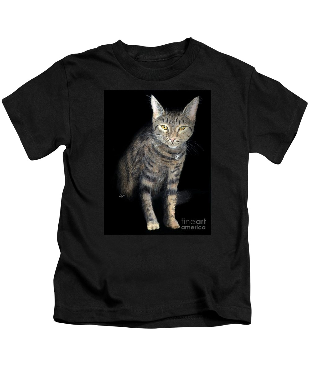 Cat Kids T-Shirt featuring the painting Night Vision by Lynn Quinn