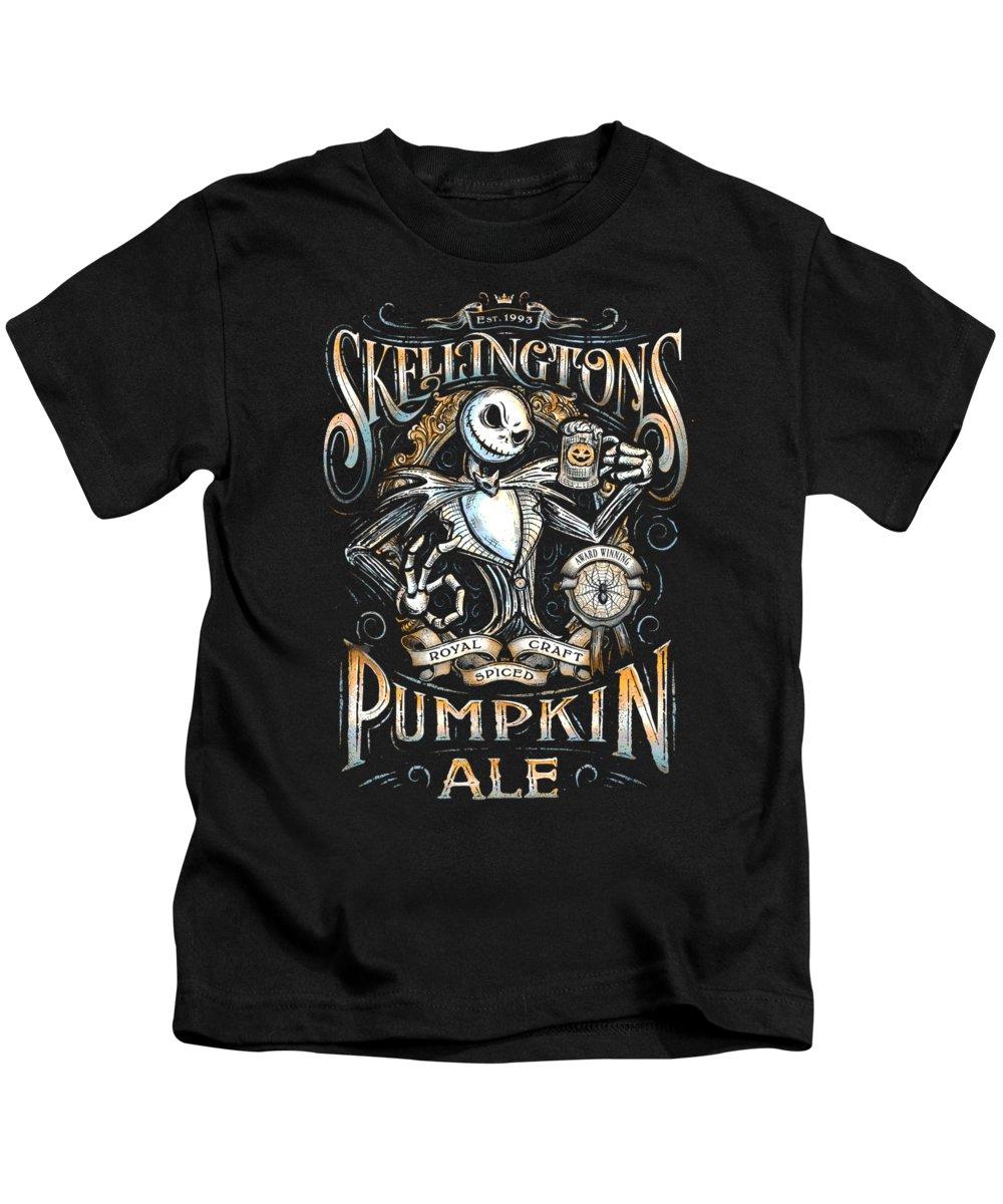 Nightmare Before Christmas - Skellingtons Pumpkin Ale Kids T-Shirt ...