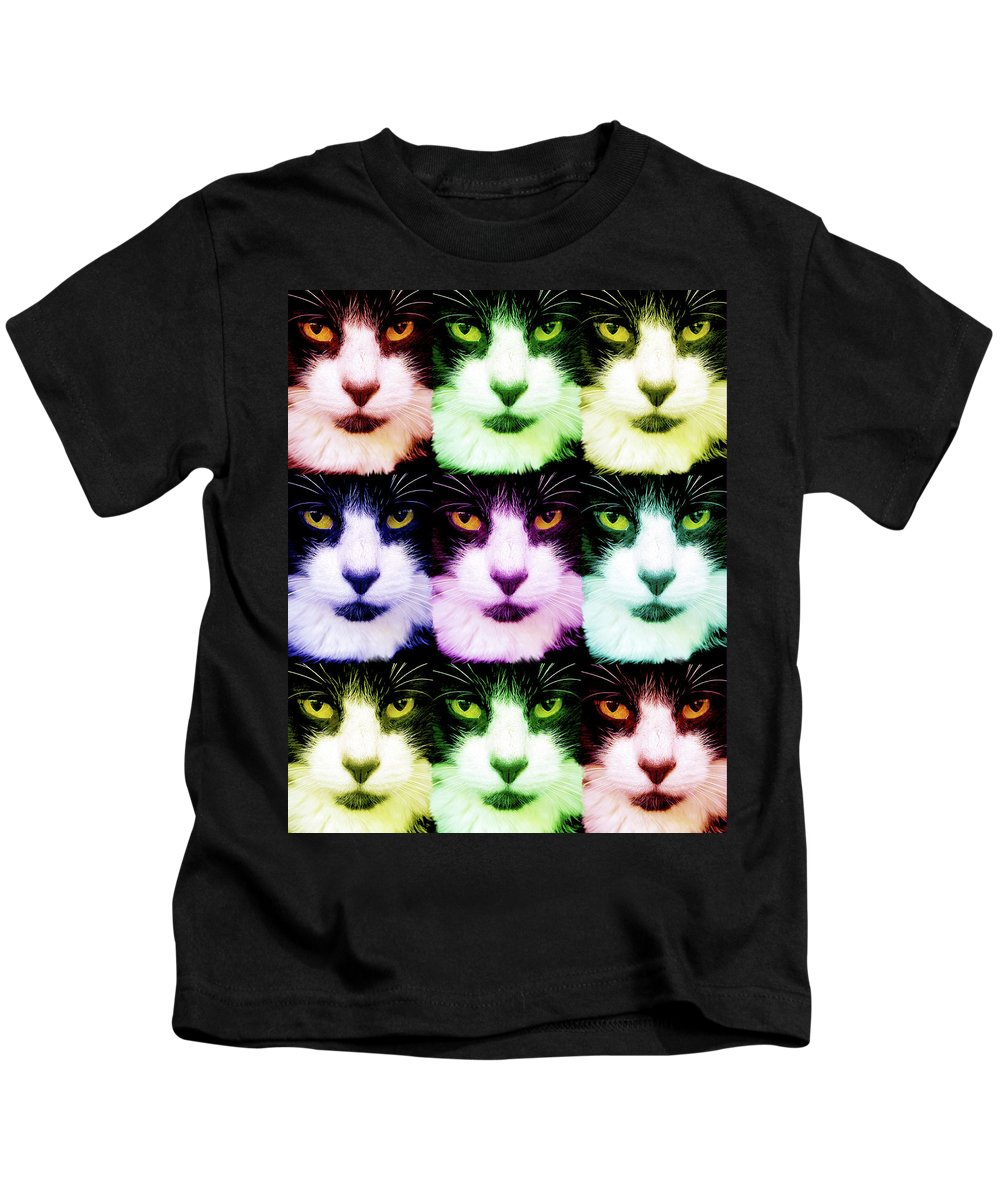 Cats Kids T-Shirt featuring the digital art Nine Lives by Mary-Ella Bowles