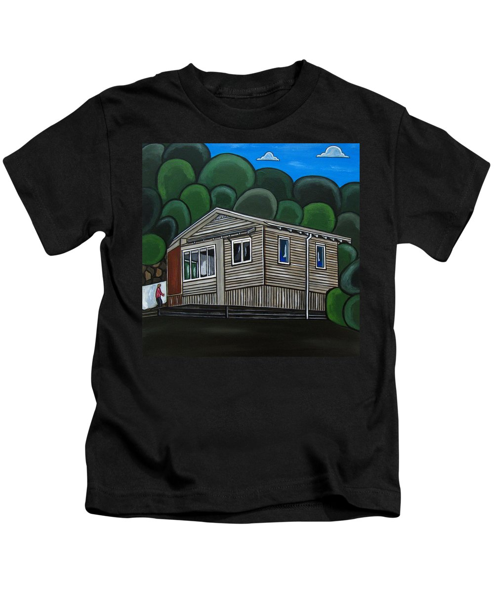 Seaside Cottage Paintings Kids T-Shirt featuring the painting No 46 by Sandra Marie Adams
