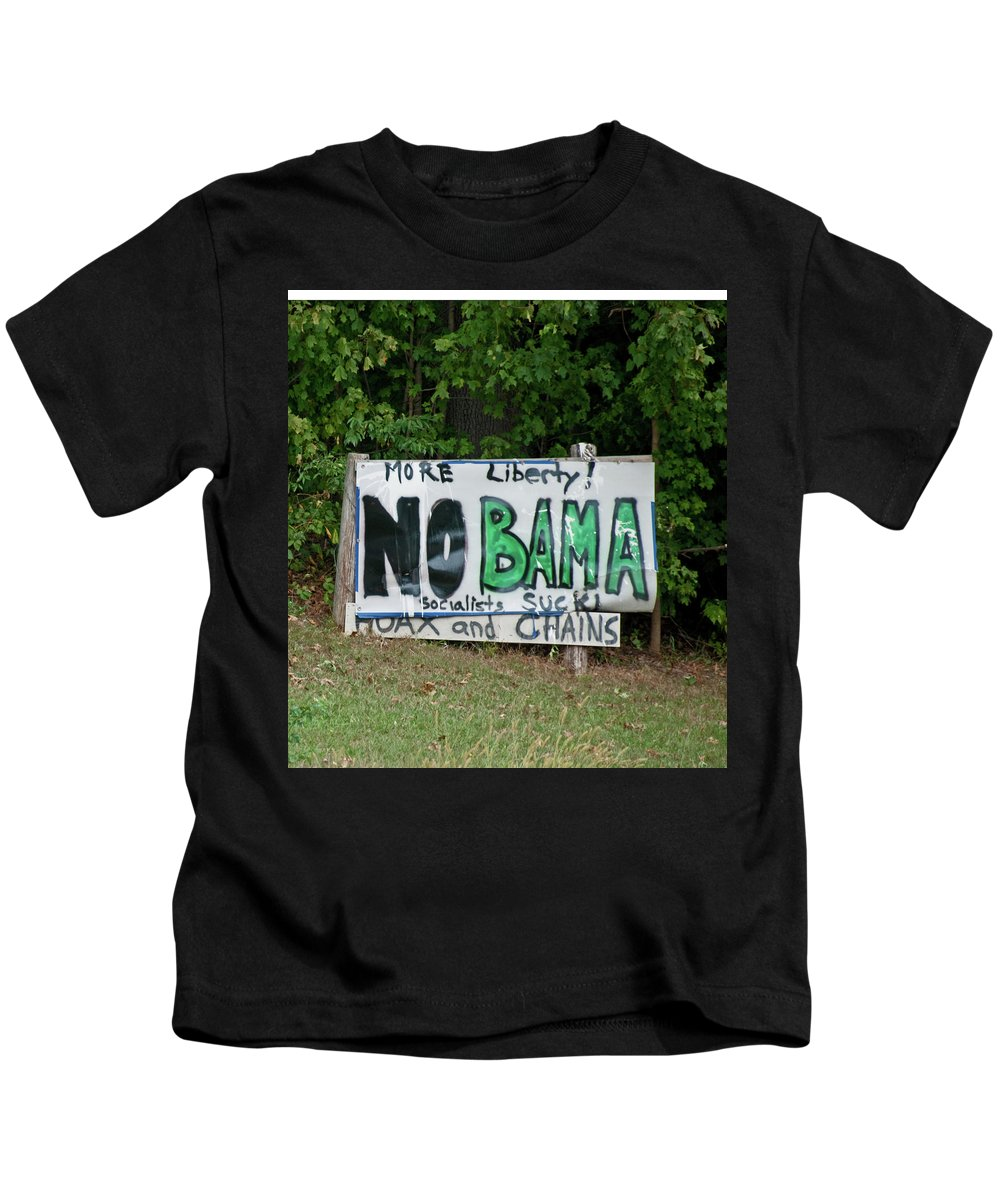 Sign Kids T-Shirt featuring the photograph No Bama by David Arment