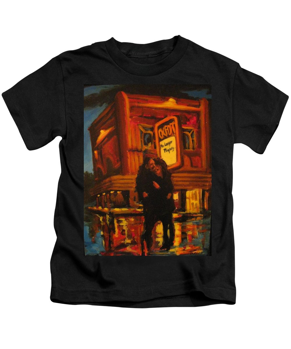 Wet Streets Kids T-Shirt featuring the painting No Longer Playing by John Malone