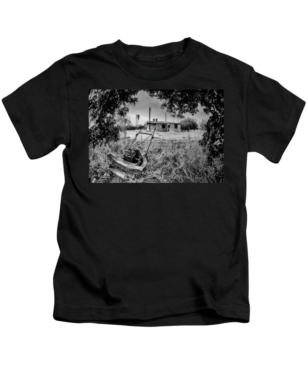 Lawnmower Kids T-Shirt featuring the photograph No More Chores Bw by Scott Campbell