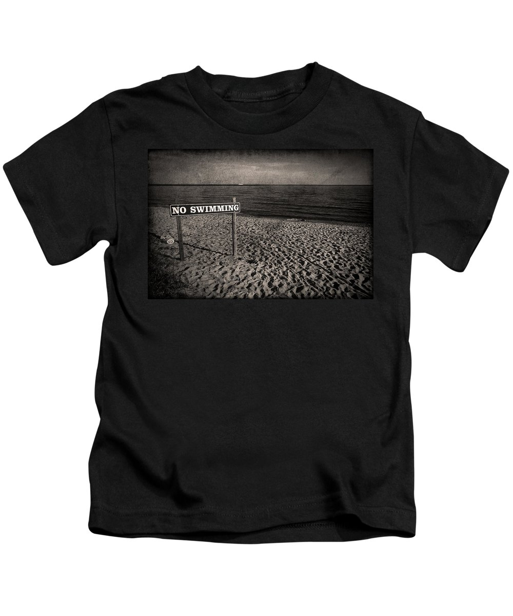 Sign Kids T-Shirt featuring the photograph No Swimming by Evelina Kremsdorf