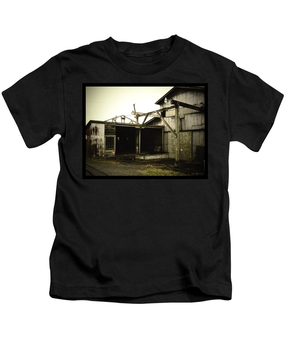 Warehouse Kids T-Shirt featuring the photograph No Trespassing by Tim Nyberg