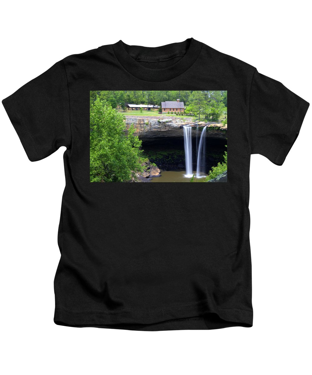 Noccolula Kids T-Shirt featuring the photograph Noccolula Falls Gadsden Alabama by Kathy Clark