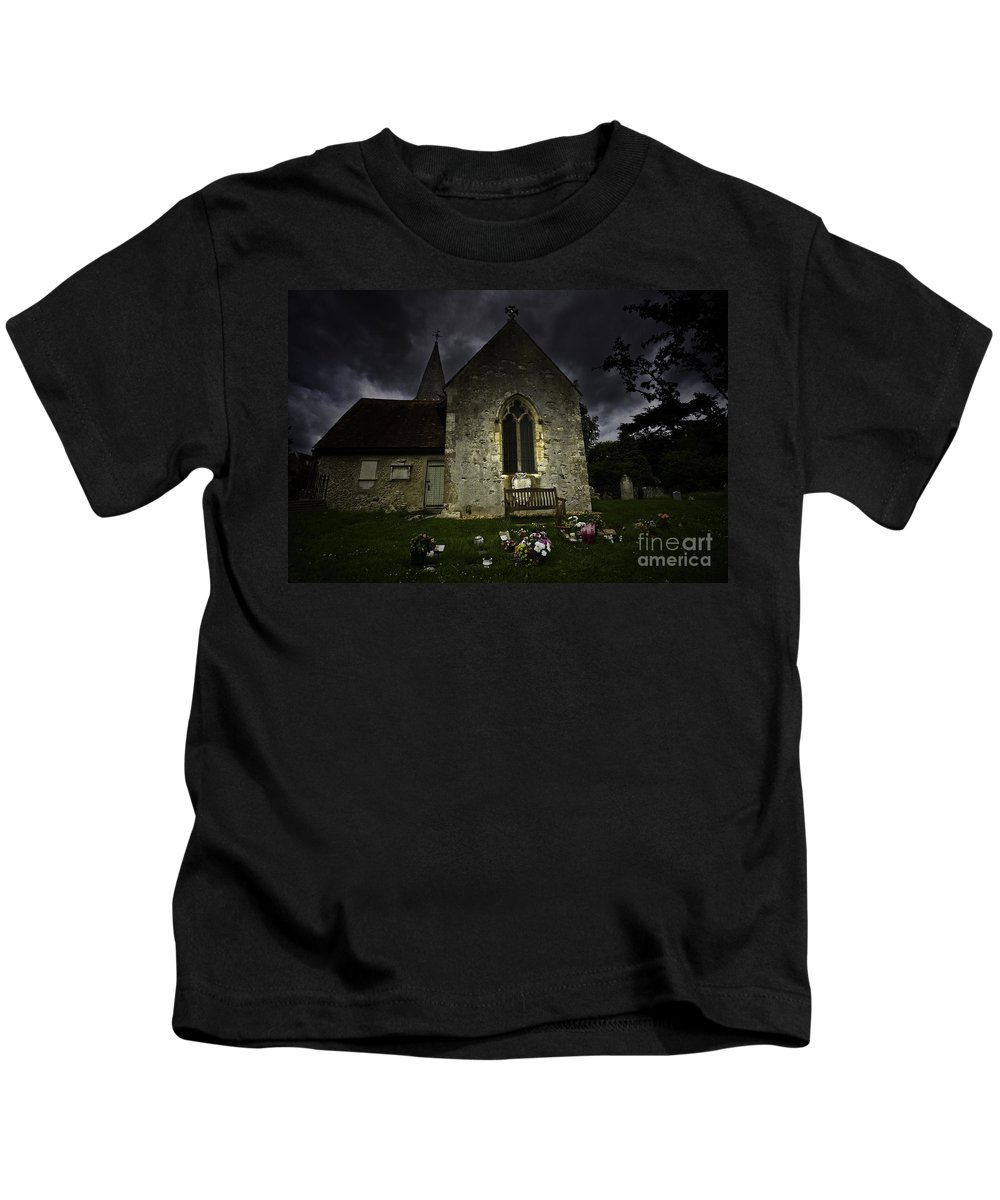 Church Kids T-Shirt featuring the photograph Norman Church At Lissing Hampshire England by Sheila Smart Fine Art Photography