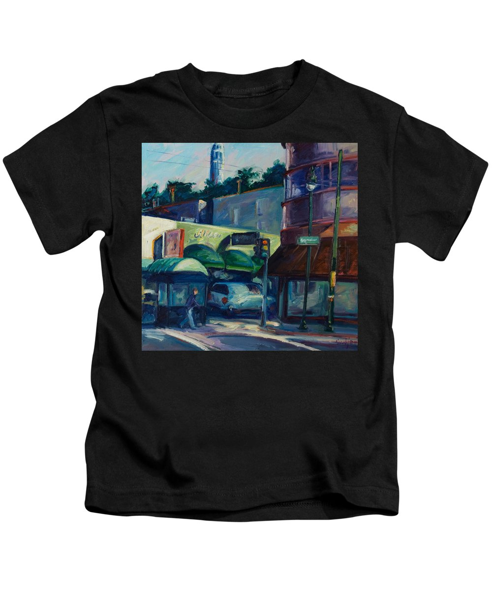 Cityscape Kids T-Shirt featuring the painting North Beach by Rick Nederlof