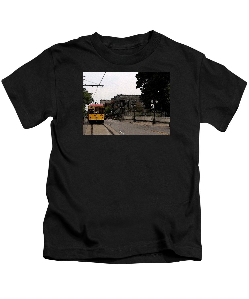 Trolley Kids T-Shirt featuring the digital art North Little Rock Argenta District by David McGhee