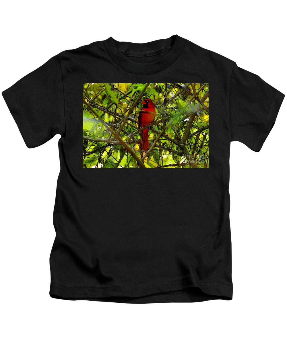 Art Kids T-Shirt featuring the painting Northern Cardinal Work Number Two by David Lee Thompson