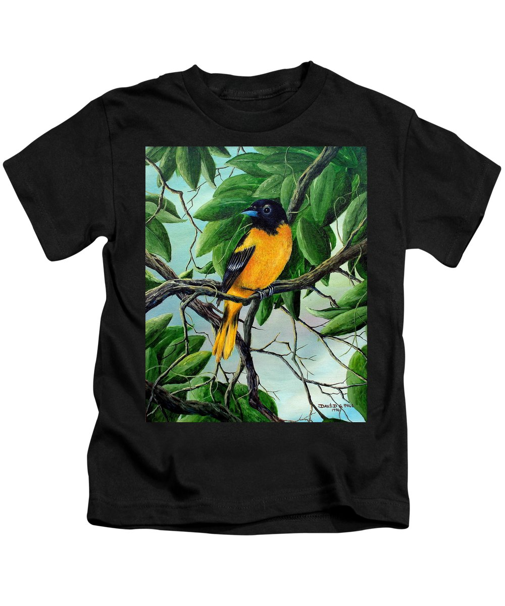 Oriole Kids T-Shirt featuring the painting Northern Oriole by David G Paul