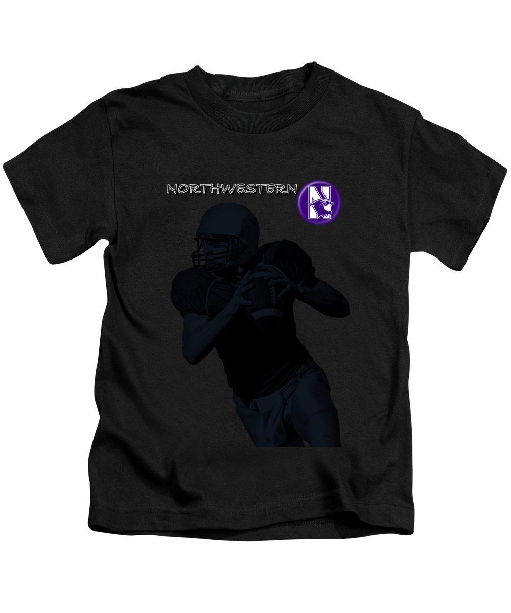 Football Kids T-Shirt featuring the digital art Northwestern Football by David Dehner