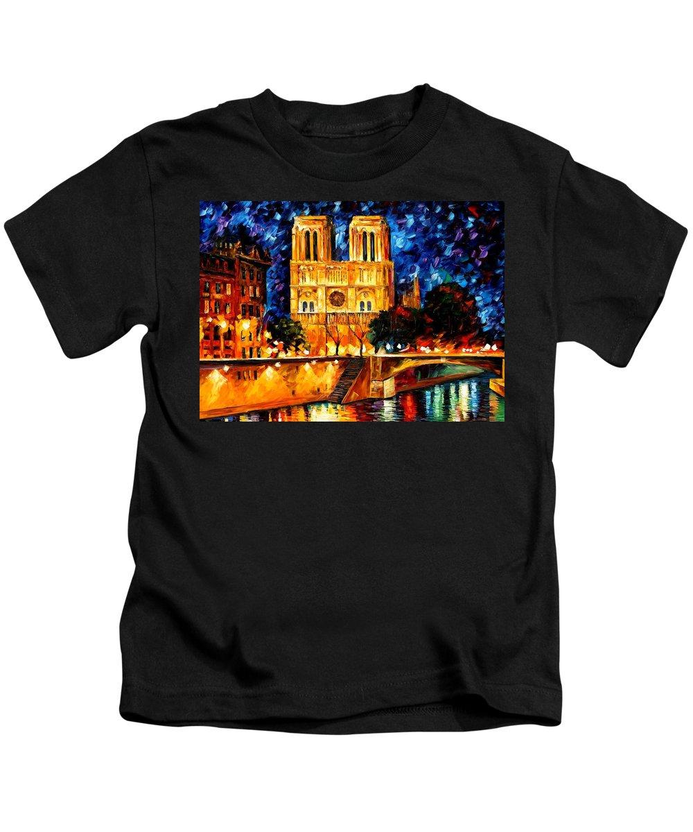 Afremov Kids T-Shirt featuring the painting Notre Dame De Paris by Leonid Afremov