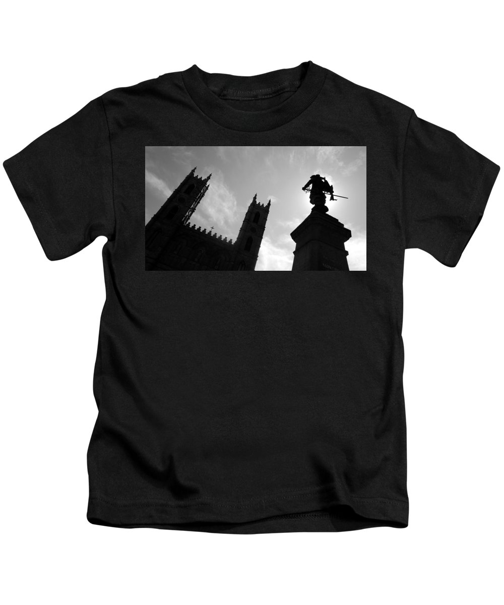 Notre Dame Kids T-Shirt featuring the photograph Notre Dame Silhouette by Valentino Visentini