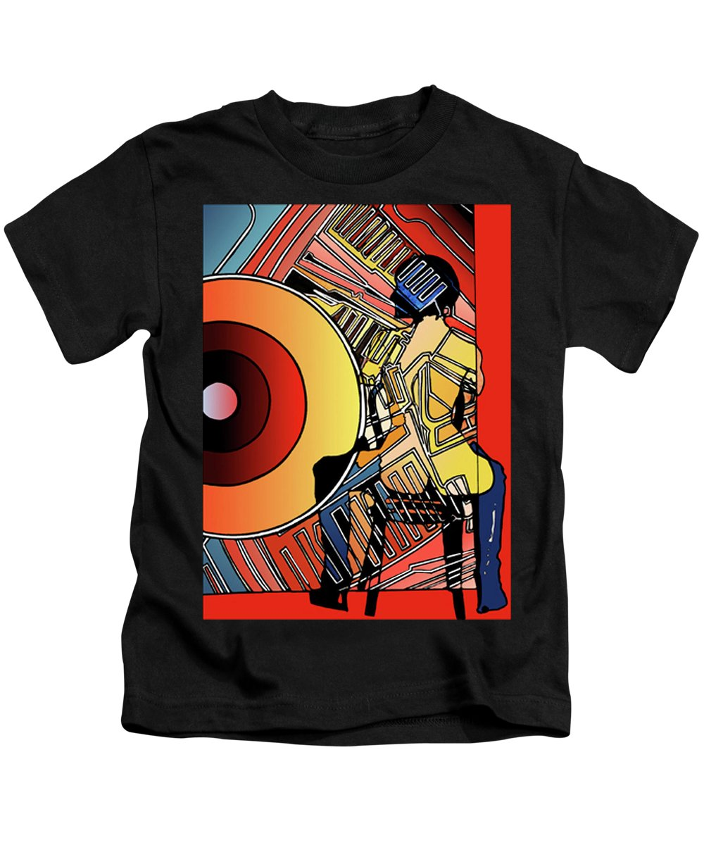Nude Kids T-Shirt featuring the painting Nude And Harley Engine No1 by David Pennell