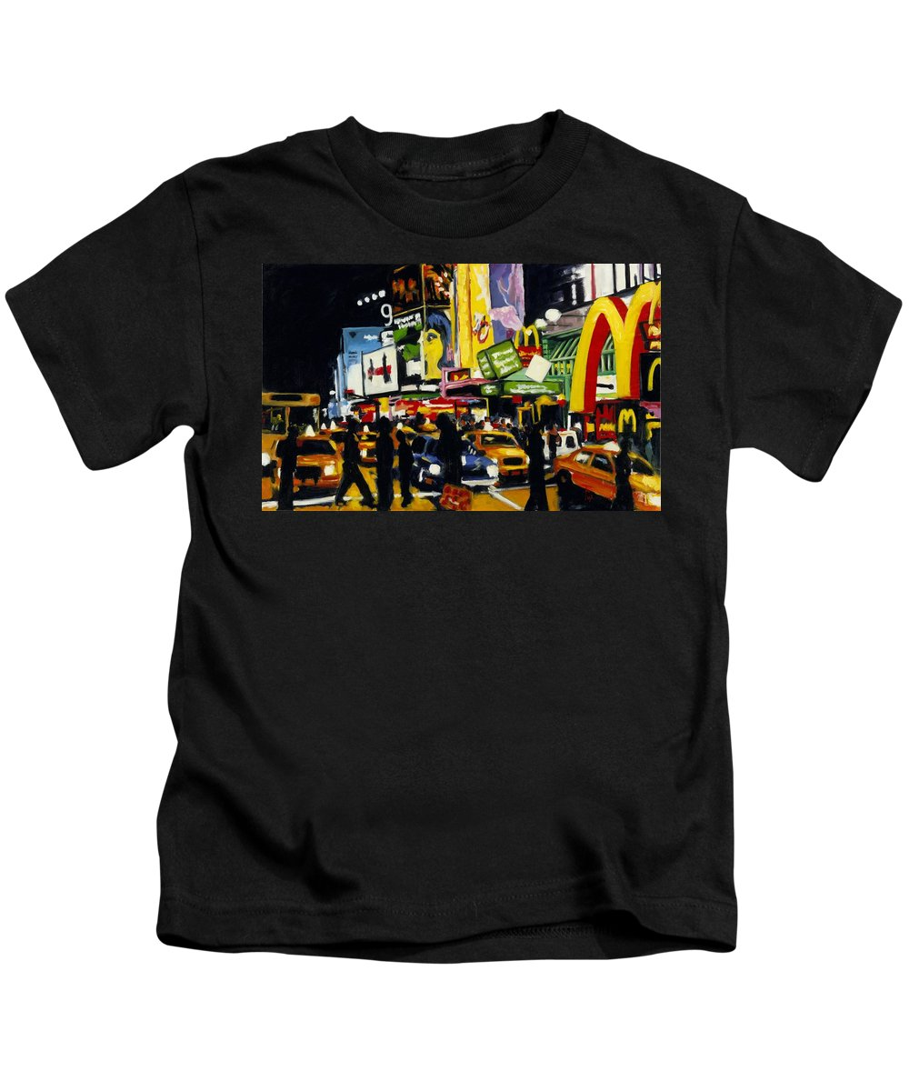 New York Kids T-Shirt featuring the painting NYC II The Temple of M by Robert Reeves