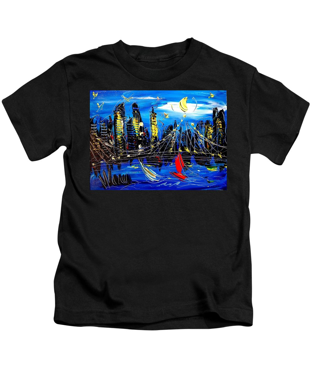 Kids T-Shirt featuring the painting Nycity by Mark Kazav