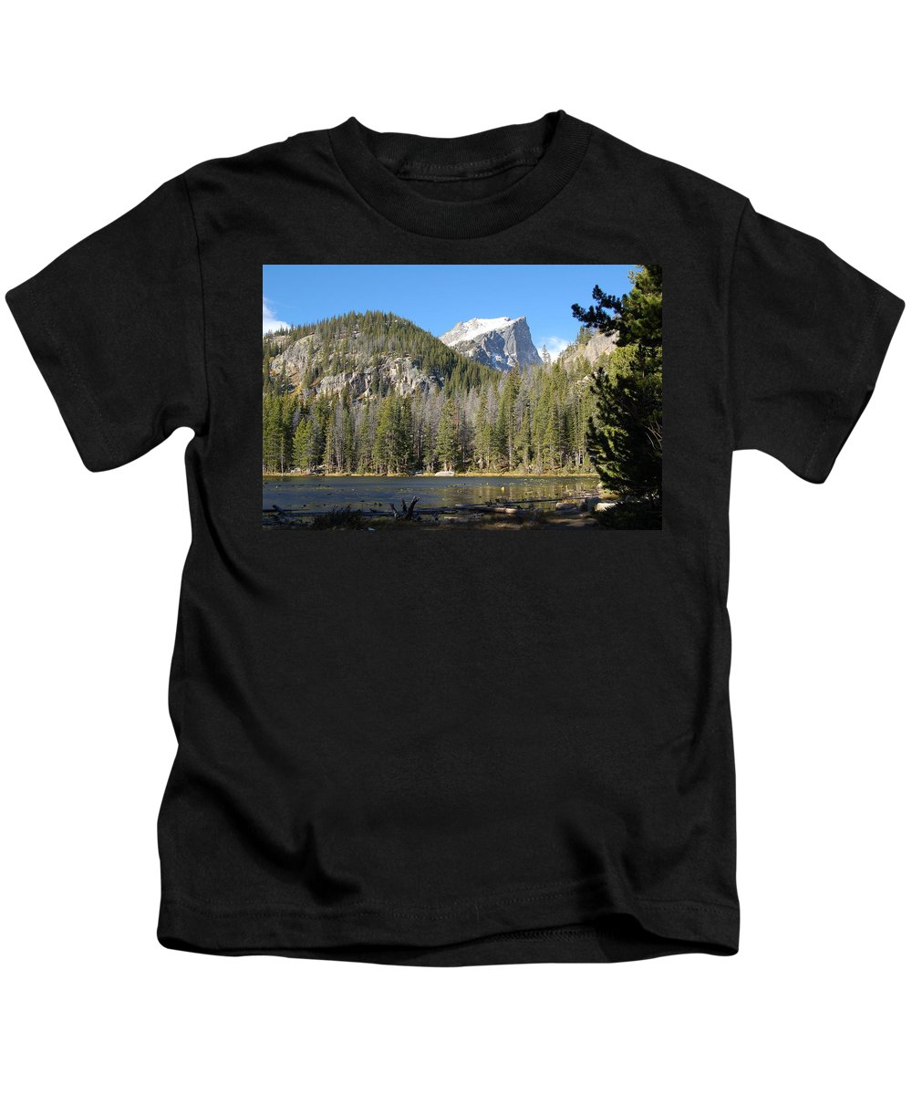 Nymph Lake In Rocky Mountain National Park Kids T-Shirt featuring the photograph Nymph Lake In Rocky Mountain National Park by Jennifer Forsyth
