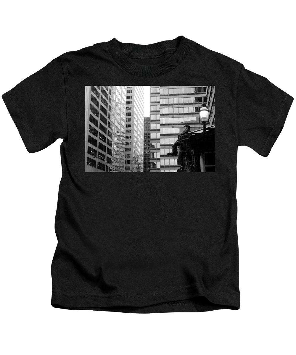 Downtown Kids T-Shirt featuring the photograph Observing The City by Valentino Visentini