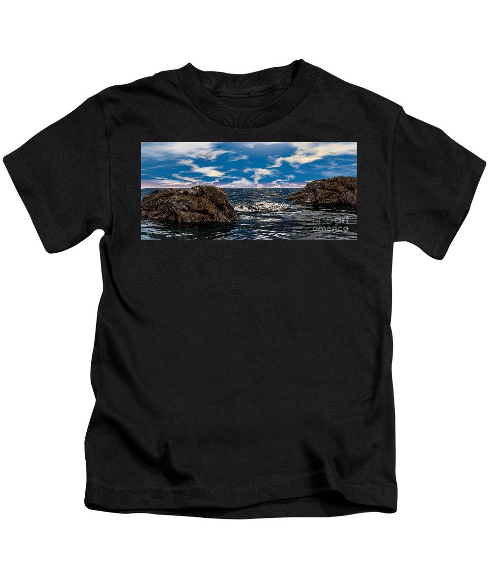Ocean Kids T-Shirt featuring the photograph Ocean Rock And Sky by Jetmir Sejdiu