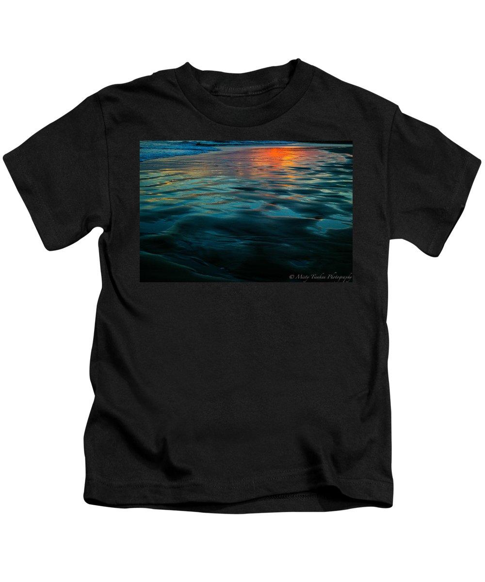 Beach Kids T-Shirt featuring the photograph Oceanside Reflective Sunset by Misty Tienken