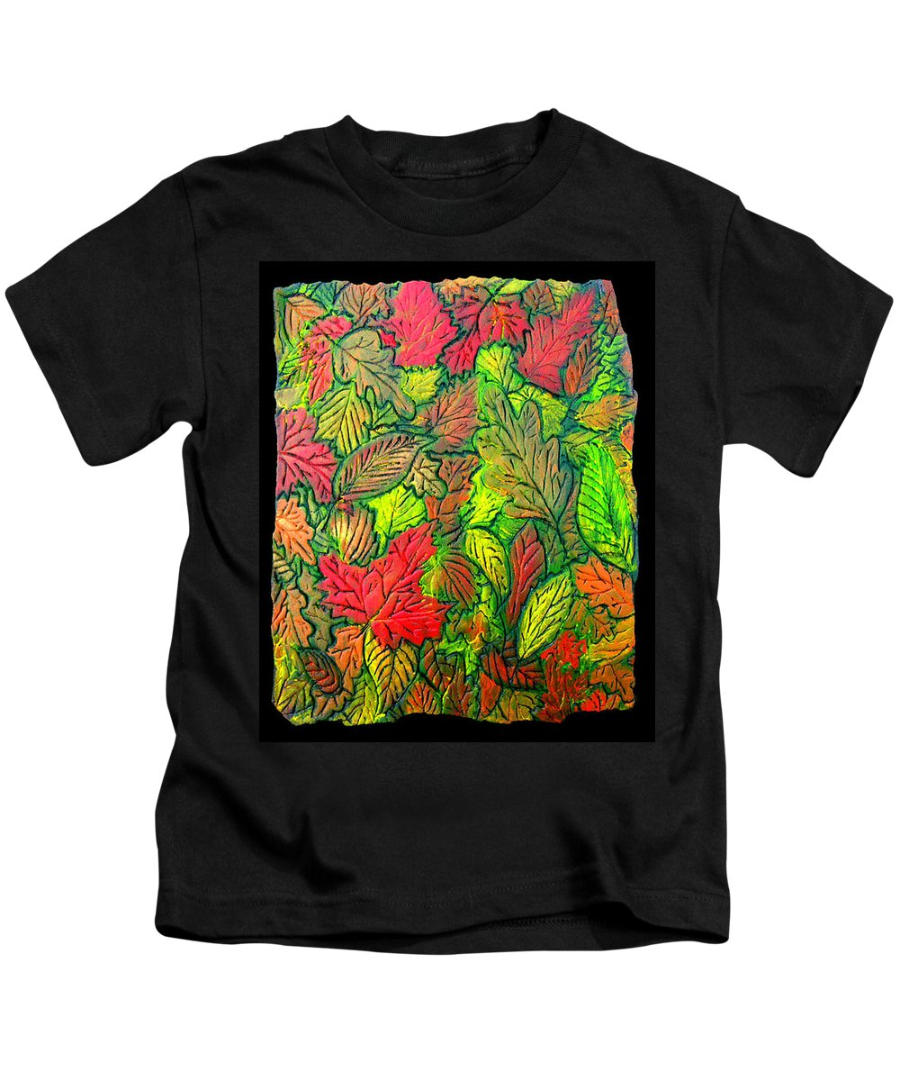 Leaves Kids T-Shirt featuring the painting October 21st. by Wayne Potrafka