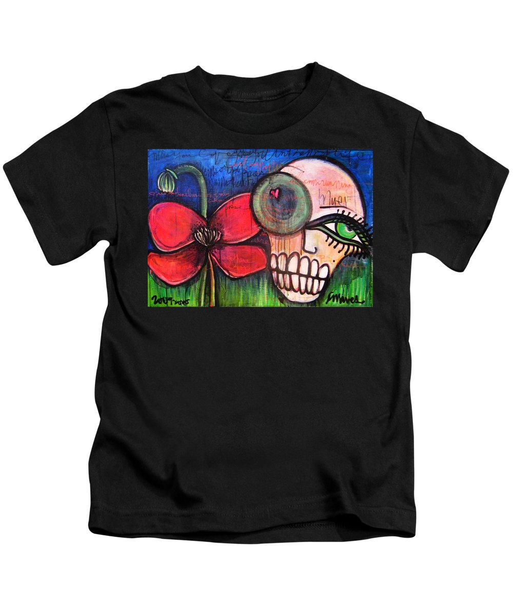 Skulls Kids T-Shirt featuring the painting Ode To Kings by Laurie Maves ART