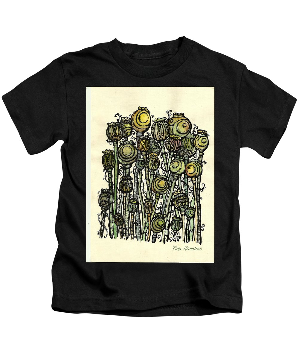 Watercolor Flower Kids T-Shirt featuring the drawing of Ripe poppies by Tais Karelina