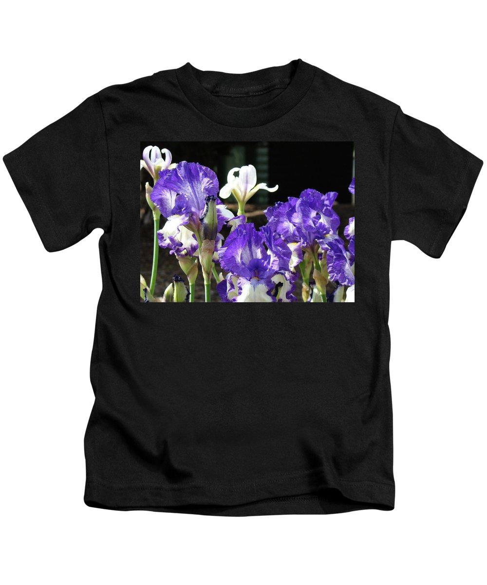 Iris Kids T-Shirt featuring the photograph Office Art Prints Iris Flower Botanical Landscape 30 Giclee Prints Baslee Troutman by Baslee Troutman