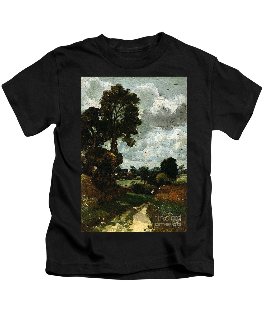 Oil Kids T-Shirt featuring the painting Oil Sketch Of Stoke-by-nayland by John Constable