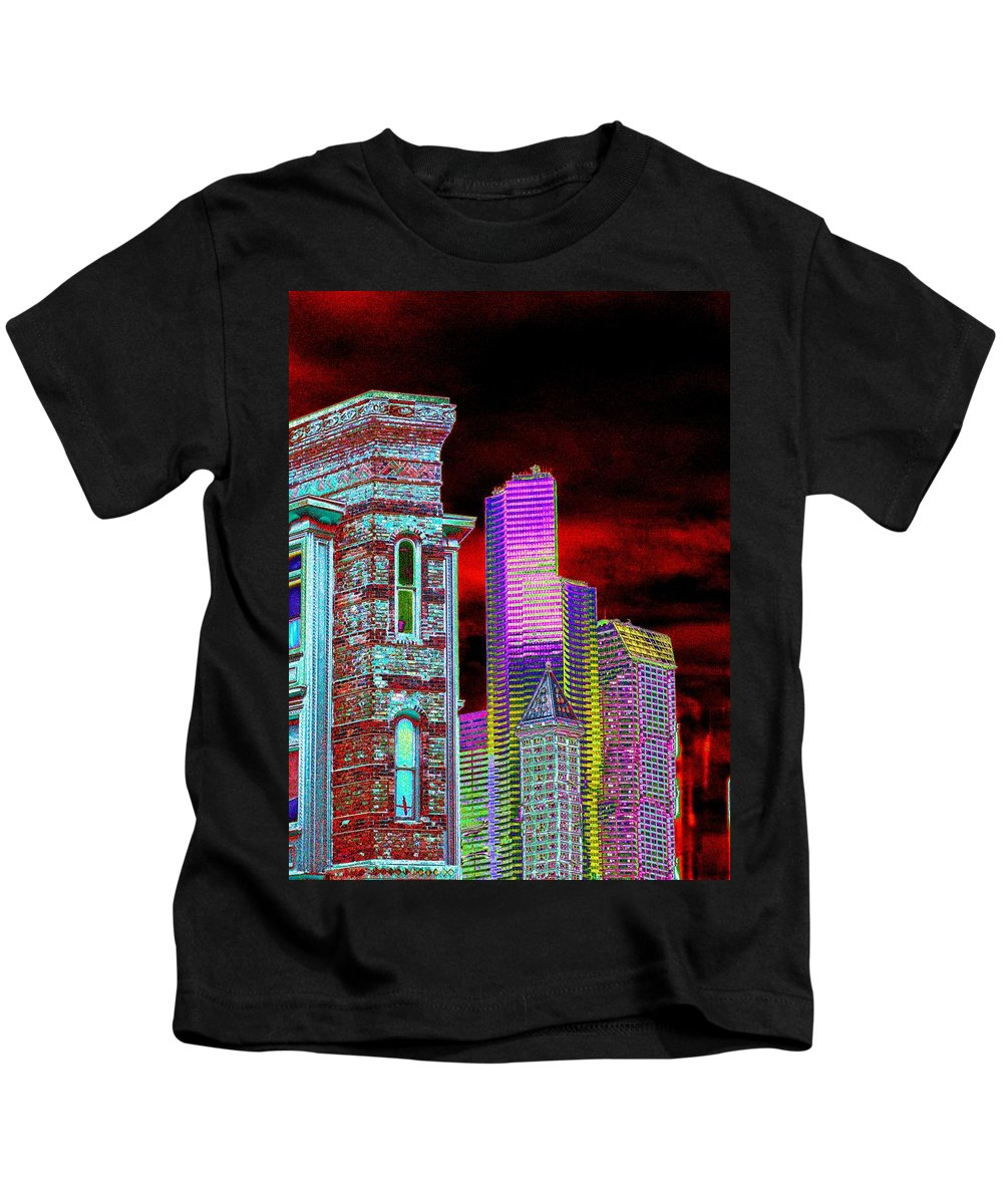 Seattle Kids T-Shirt featuring the digital art Old And New Seattle by Tim Allen