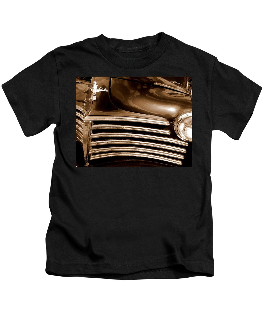 Truck Kids T-Shirt featuring the painting Old Chrysler Grille by Michael Thomas