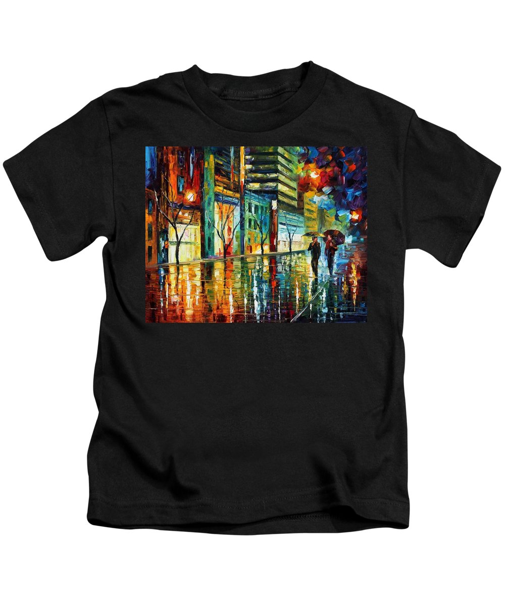 Afremov Kids T-Shirt featuring the painting Old City by Leonid Afremov