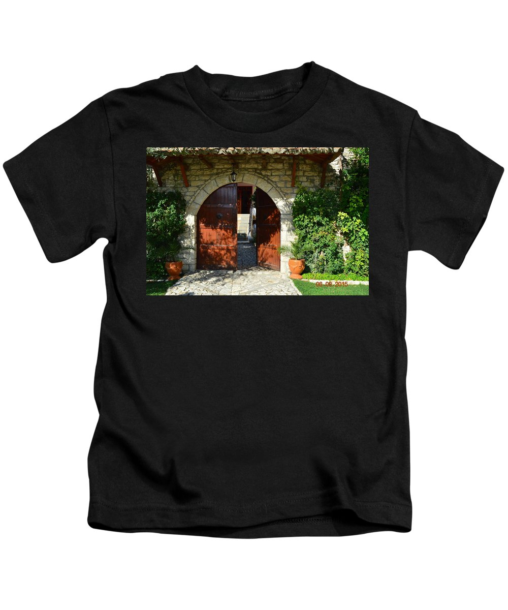 Kids T-Shirt featuring the photograph Old House Door by Nuri Osmani