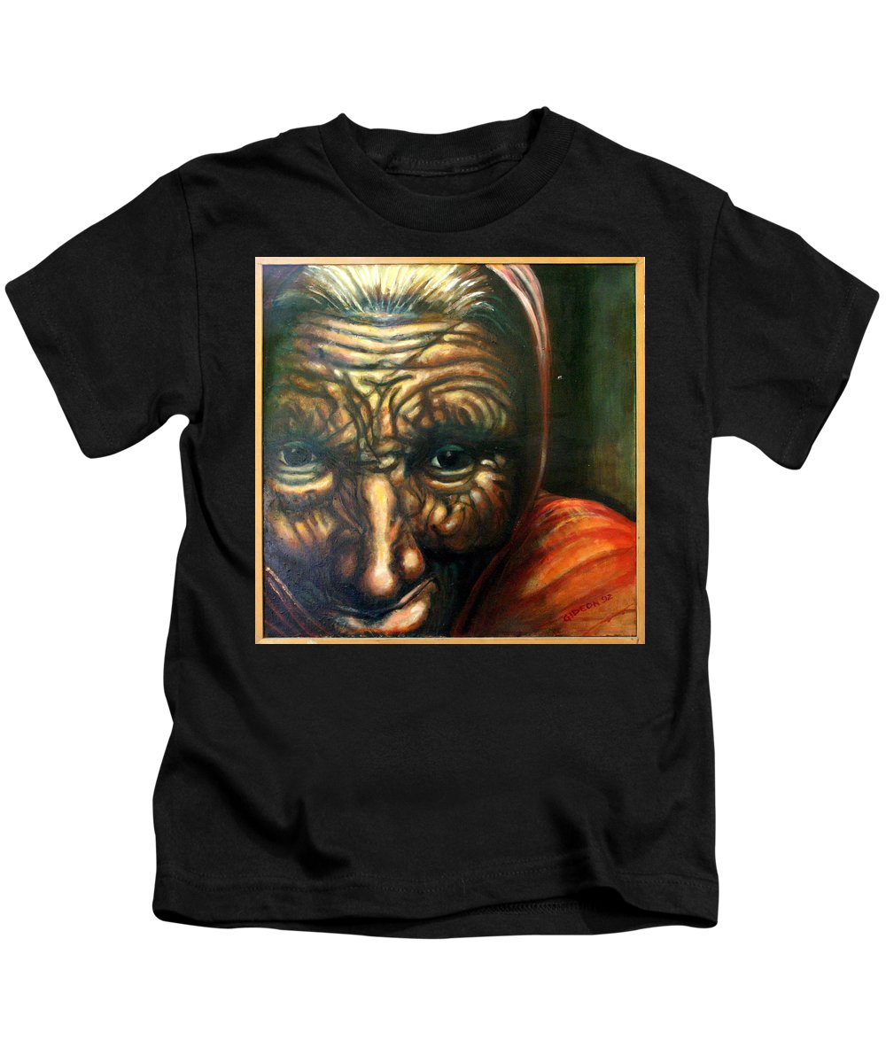 Drawing Kids T-Shirt featuring the painting Old Lady - Map Of Life by Gideon Cohn