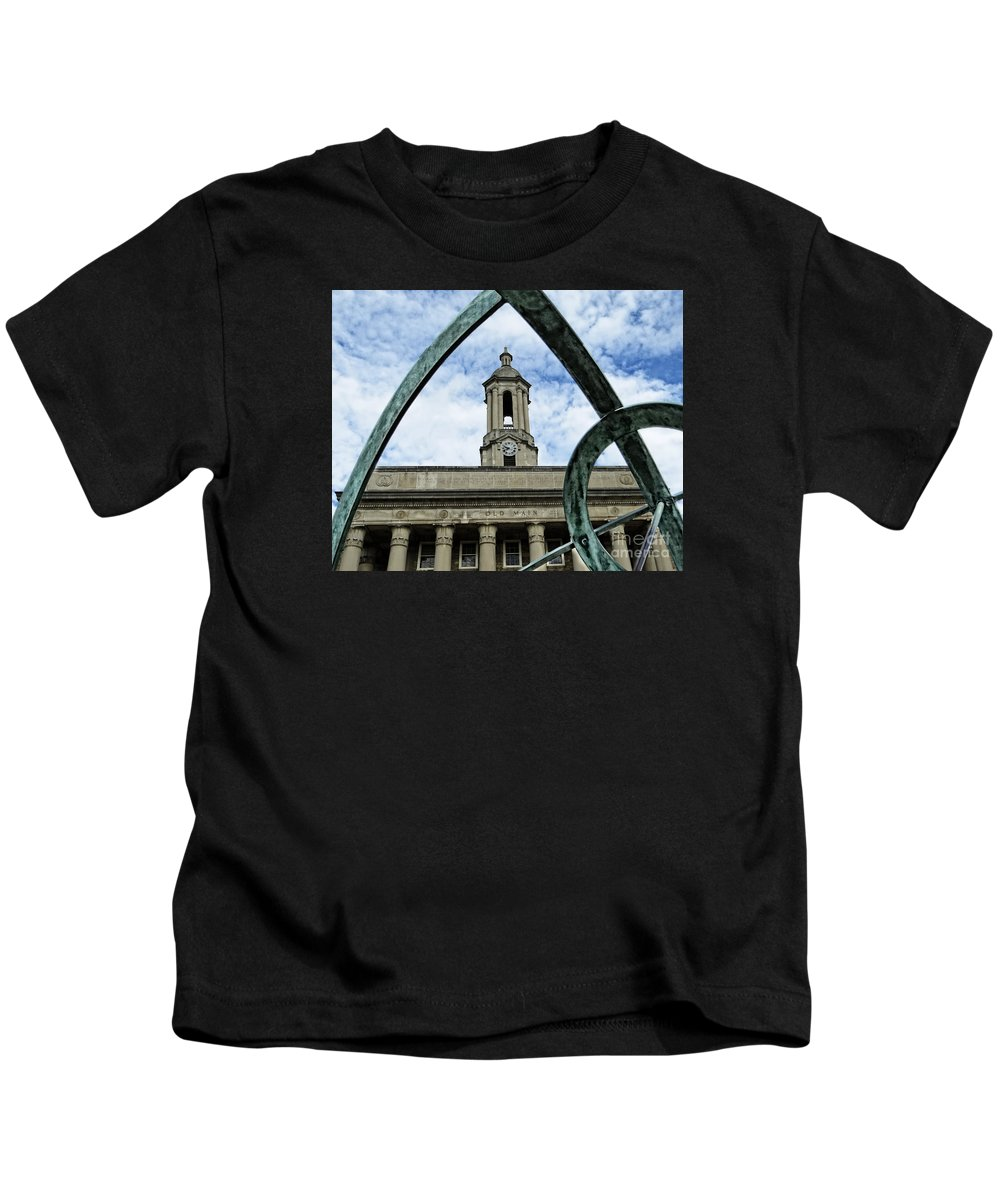 Penn State Kids T-Shirt featuring the photograph Old Main Thru The Turtle by Dawn Gari