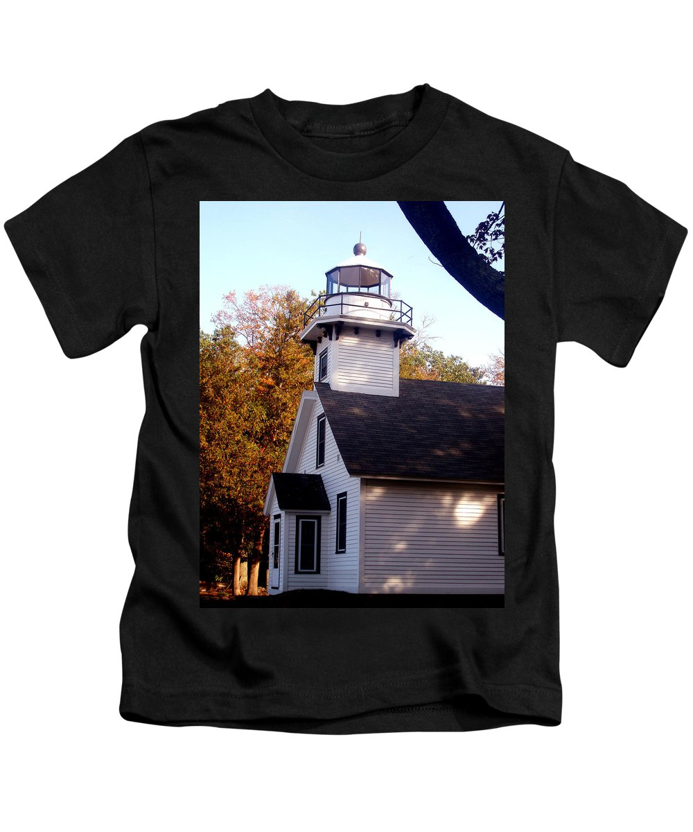 Lighthouse Kids T-Shirt featuring the painting Old Mission Point Light House by Wayne Potrafka