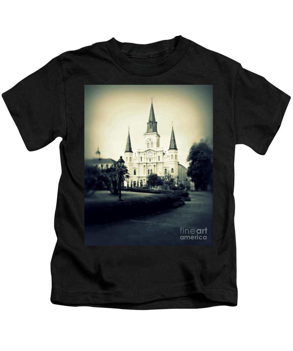 Jackson Square Kids T-Shirt featuring the photograph Old New Orleans by Perry Webster