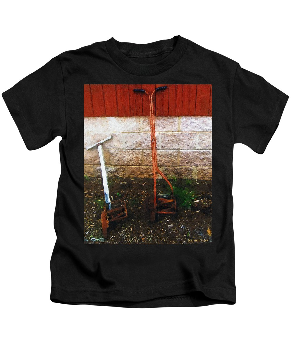 Americana Kids T-Shirt featuring the painting Old Pals Out To Pasture by RC DeWinter