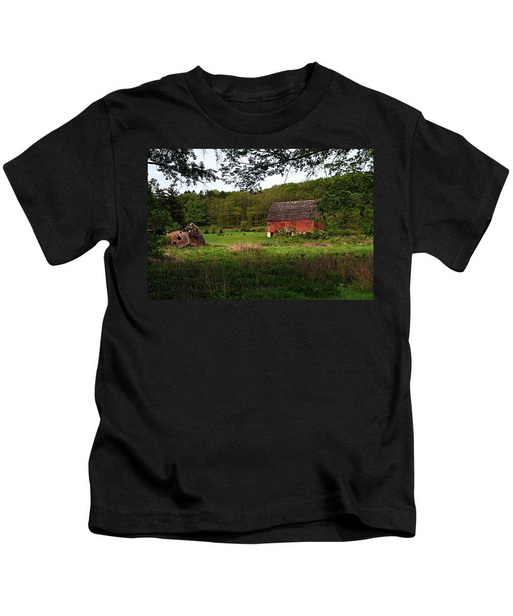 Red Barn Kids T-Shirt featuring the photograph Old Red Barn 2 by Larry Ricker