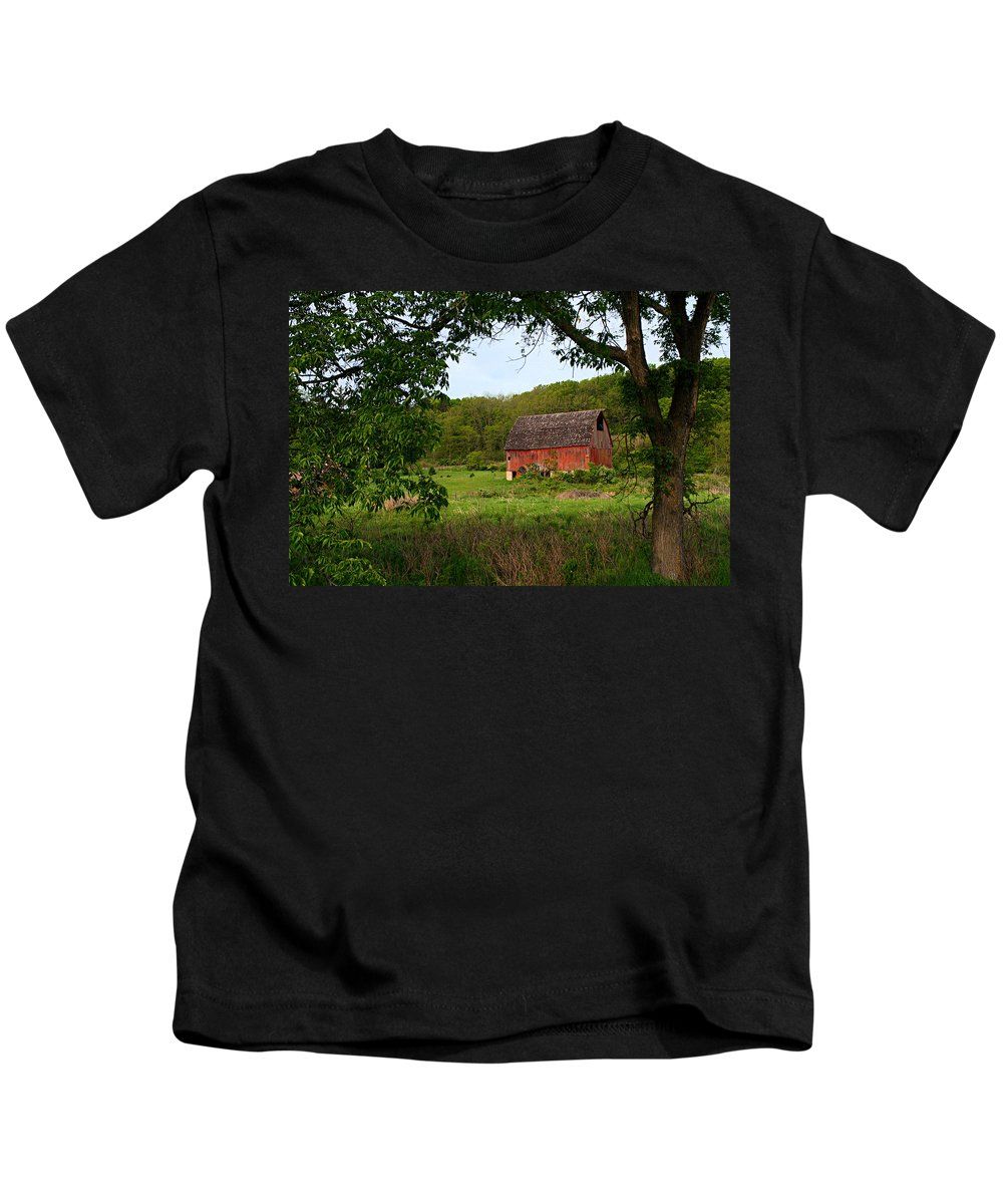 Red Barn Kids T-Shirt featuring the photograph Old Red Barn by Larry Ricker