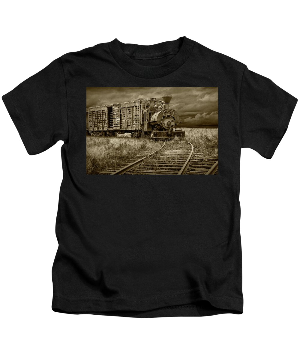 Locomotive Kids T-Shirt featuring the photograph Old Steam Locomotive Train Engine In Sepia Tone by Randall Nyhof